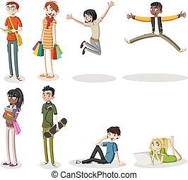 giovane, cartone animato, persone