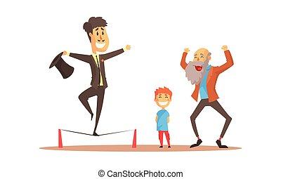 giovane, equilibratura, vettore, illustrazione, uomo, spettatori, corda