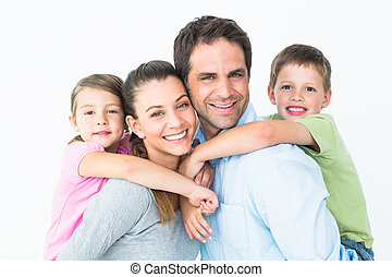 giovane guardare, macchina fotografica, insieme, famiglia, felice