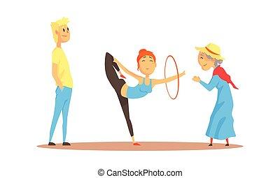giovane, hula, vettore, illustrazione, hooping, spettatori, donna
