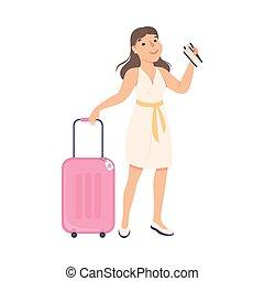 giovane, illustrazione, turista, vacanza, valigia, biglietti piani, andare, vettore, cartone animato, ragazza, standing, estate, donna