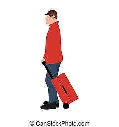 giovane, illustrazione, viaggio, va, turista, disegno, maschio, valigia, cartone animato, vettore, vacation., appartamento