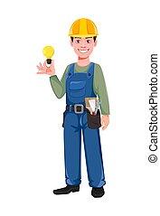 giovane, lavoratore costruzione, cappello duro
