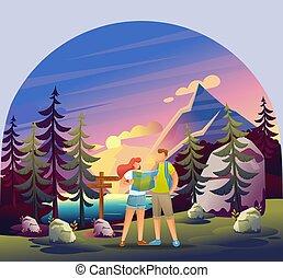 giovane, montagne., 2d, tramonto, usando, forest., lago, tracciato, map., attivo, appartamento, foresta, carattere, coppia, studi, foresta, ricreazione