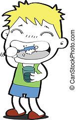giovane ragazzo, spazzolatura, suo, denti