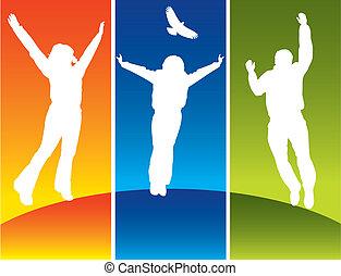 giovane, saltare, tre persone