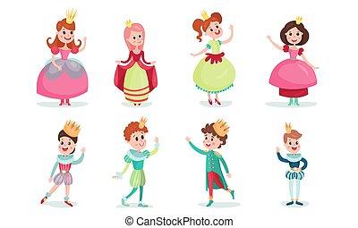 giovane, set, fata, vettore, caratteri, principesse, corone, principi, cartone animato, illustrazioni
