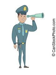 giovane, sicurezza, controllo, spyglass., poliziotto