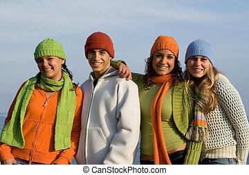 gioventù, adolescenti, gruppo, adolescente, felice