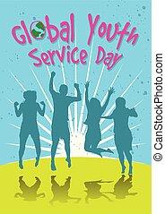 gioventù, globale, giorno, servizio