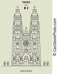 giri, france., cattedrale, punto di riferimento, giri, icona