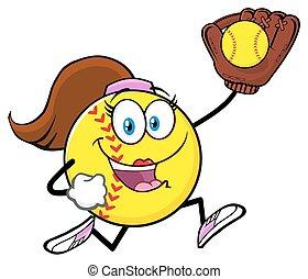 girly, correndo, softball, carattere