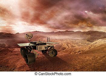 girovago, esplorare, illustrazione, pianeta, marte, superficie, rosso, 3d
