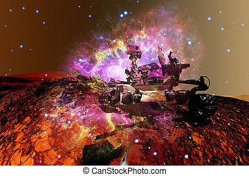 girovago, esplorare, planet., superficie, curiosità, marte, rosso