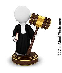 giudice, persone, 3d, bianco