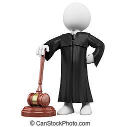 giudice, toga, martello, 3d