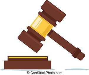 giudiziario, grafico, appartamento, concept., giudice corte, cartone animato, disegno, illustrazione, vettore, martello