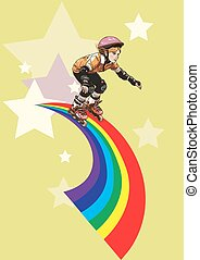 giunchi, arcobaleno, lungo, roller-girl