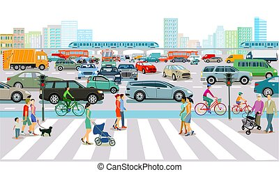 giunco, traffico, grande, ora, city.eps