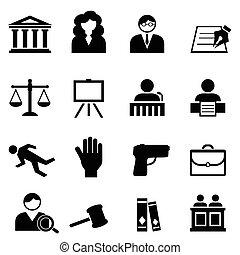 giustizia, legale, set, legge, icona