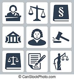 giustizia, legge, set, vettore, icone