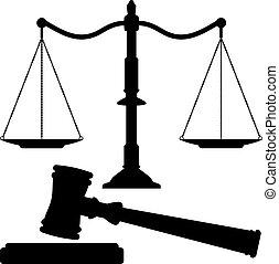 giustizia, martelletto, vettore, scale