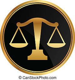 giustizia, vettore, scale, icona
