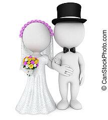 giusto, persone, coppia, sposato, bianco, 3d