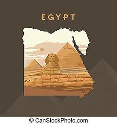 giza, vettore, inciso, illustrazione, sfinge, mappa, egitto, piramidi, grande