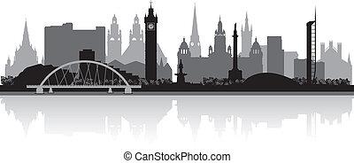 glasgow, orizzonte, città, silhouette
