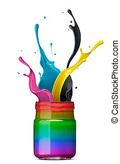 gli spruzzi, colorito, inchiostro