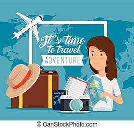globale, bagaglio, viaggiare, donna