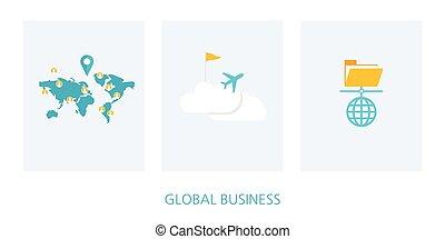 globale, concetto, set, affari, icona