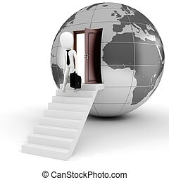 globale, concetto, uomo, affari, 3d
