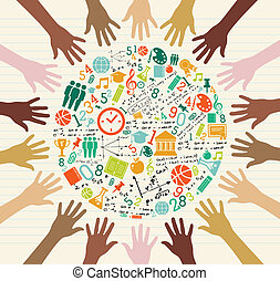 globale, educazione, umano, hands., icone