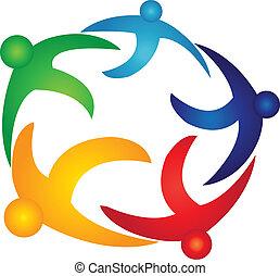 globale, logotipo, vettore, lavoro squadra, persone