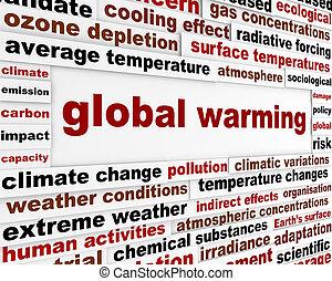 globale, messaggio, concetto, warming