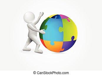 globale, persona, puxxle, logotipo, piccolo mondo, 3d