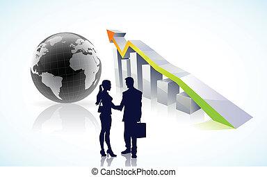 globale, successo, vettore, affari