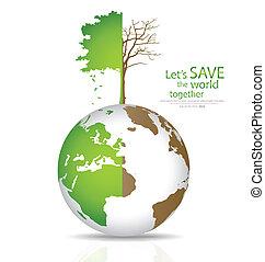 globe., diboscato, globo, albero, illustrazione, vettore, verde, risparmiare, mondo