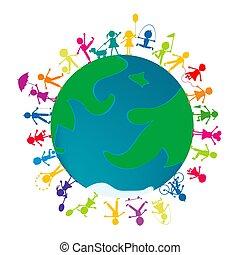 globe.eps, terra, bambini, giocare intorno