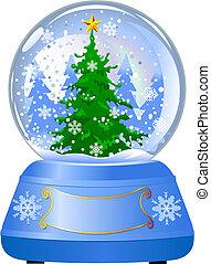 globo, albero, neve, natale