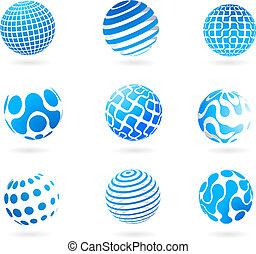 globo blu, 3d, collezione, icone