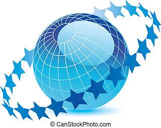 globo blu, anello, stelle