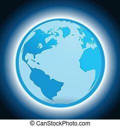 globo blu, fondo, scuro