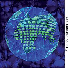 globo blu, polygonal