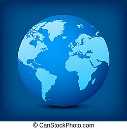 globo blu, vettore, fondo, icona