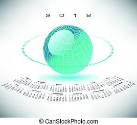 globo, bluegreen, 2018, calendario