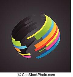 globo, colorato, icona