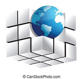 globo, cubo, illustrazione, 3d